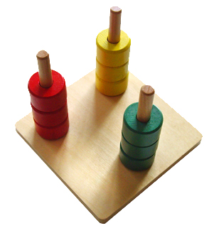 Colored Discs on 3 Dowels