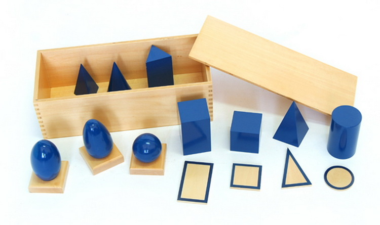 Blue Geometric Solids with Box
